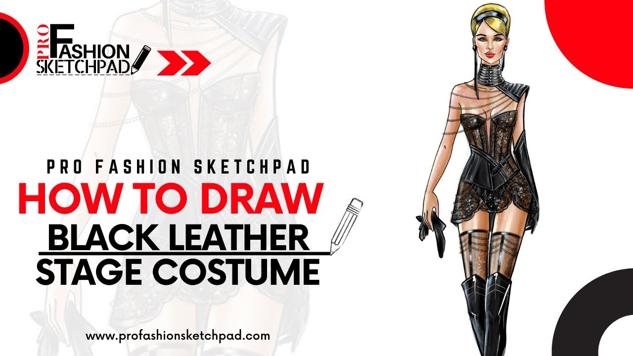How to Draw Fashion Black Leather Lace Stage Costume with Pro Fashion Sketchpad Templates