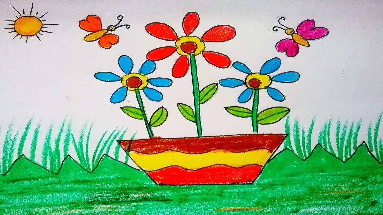 How to draw flowers pot easily for kids how to make simple pretty how to draw flowers pot easily for kids how to make simple pretty flowers diy flower drawing mightylinksfo