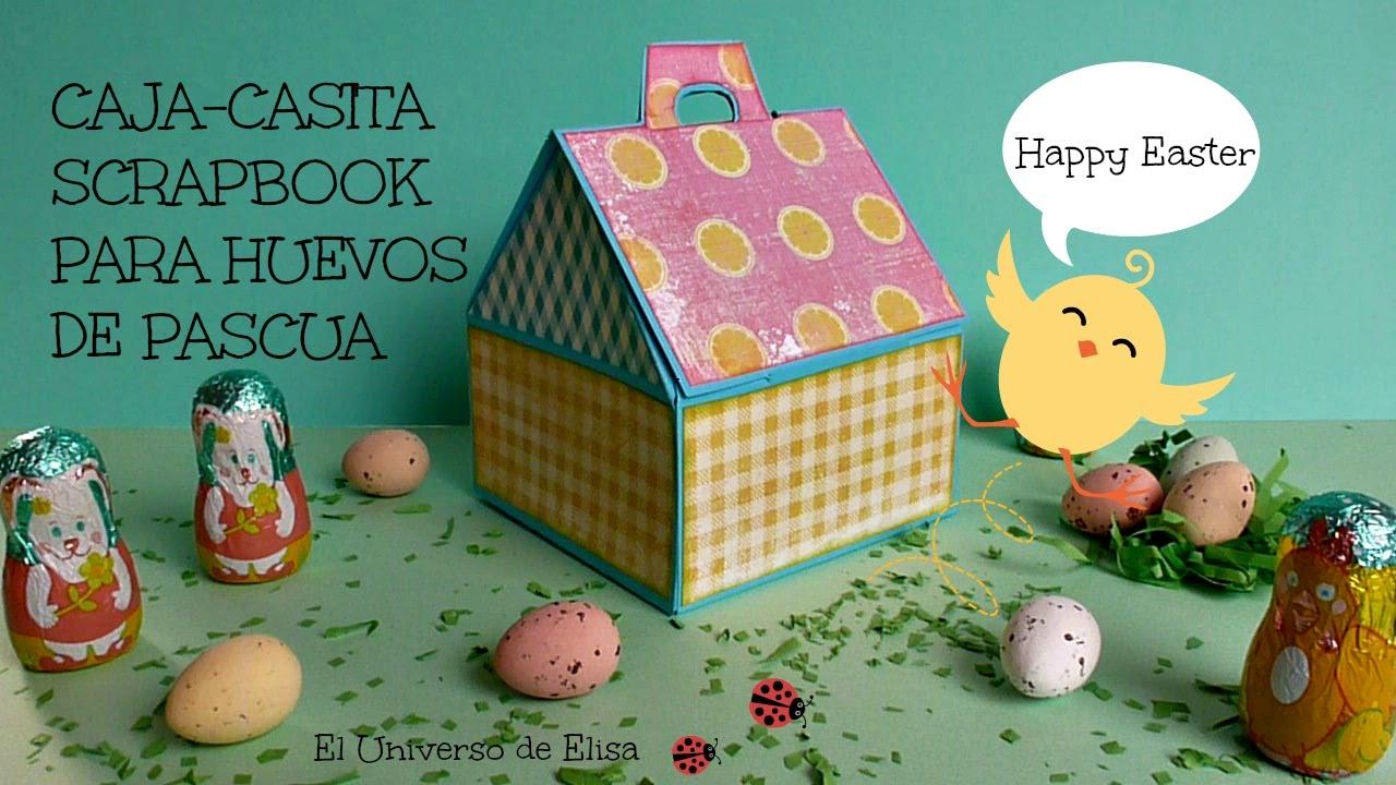 Caja de regalo para pascua caja casita scrapbook para - Cajas para manualidades ...