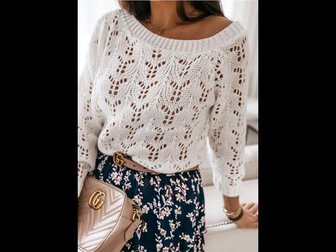 Пуловер спицами женский белый