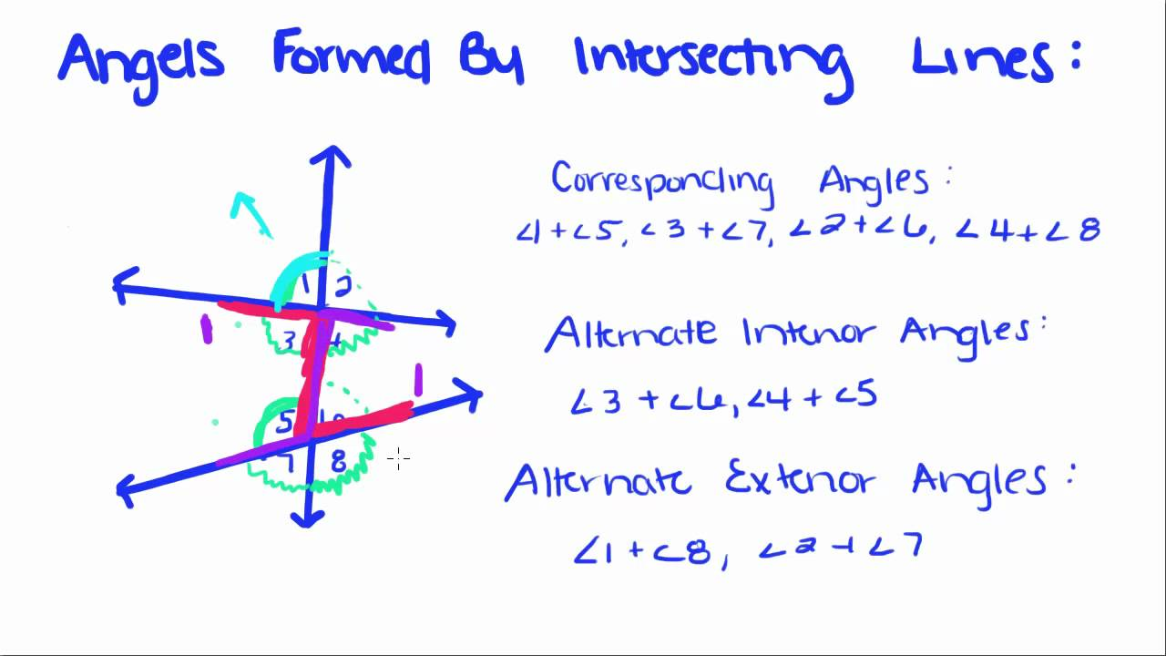 introduction to geometry 25 angles formed by intersecting lines youtube. Black Bedroom Furniture Sets. Home Design Ideas