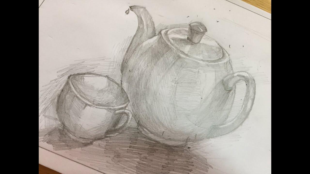 Tập vẽ cái ấm và chén uống nước (Draw the kettle and the pencil cup)