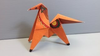 Make Your Own Action Origami Christmas Toy Horse That Flips!