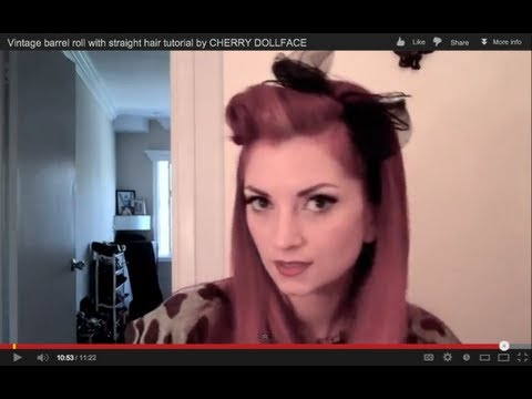 Easy vintage barrel roll with straight hair tutorial by CHERRY DOLLFACE