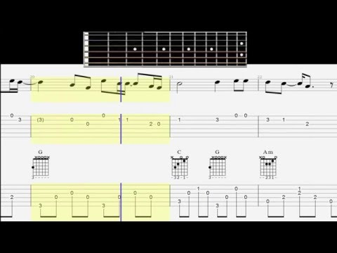 Guitar Tab - Chords - Notes - One Call Away - Big Fingerboard