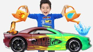 Yusuf playing with Color-Changing Cars