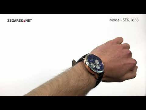 Sekonda Chronograph SEK.1658 Men's Rose Gold Plated Dual-Time Dress Watch - Zegarek.net