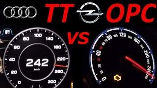 Opel Astra OPC H vs AUDI TT 2.0 - 0-200 Km/h Acceleration Sound Onboard Autobahn compare