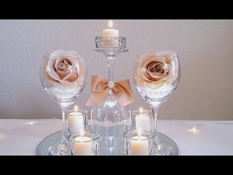 DIY | LIGHT BLING DOLLAR TREE WINE GLASS CENTERPIECE 2018 | INEXPENSIVE DIY