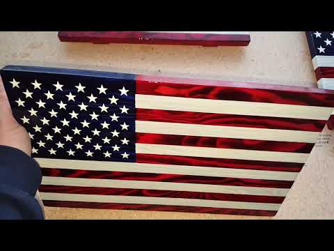 Wood American Flags Made In Montana