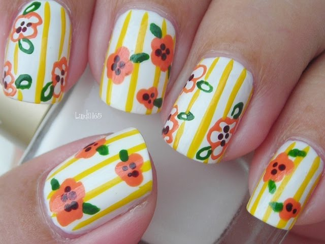 Nail Art - Sunny Flowers - Decoracion de Uñas Travel Video