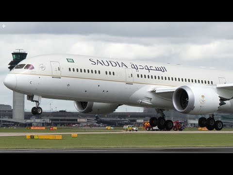 Saudia B787-9 Dreamliner FLAP ISSUE and Fast Landing at Manchester Airport Runway 23L
