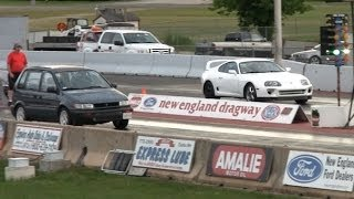4g63 Soccer Mom destroys Supra and Mustang drag race thumbnail
