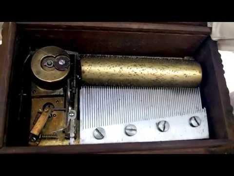 ANTIQUE SWISS Paillard 3 SONGS, 60 NOTE, MUSIC BOX TABATERE