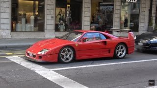 LOUD Ferrari F40 Start Up and Driving in Geneva