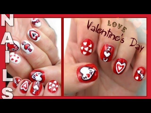PAZNOKCIE HYBRYDOWE - WALENTYNKI   semilac  Ημιμόνιμο μανικιούρ  Valentine's nails hybrid