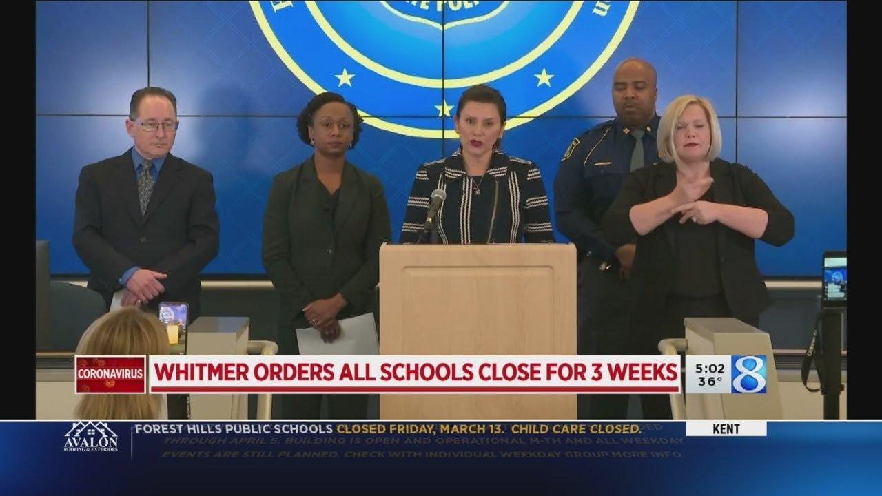 Gov. Whitmer closes all Michigan schools amid COVID-19 scare - YouTube