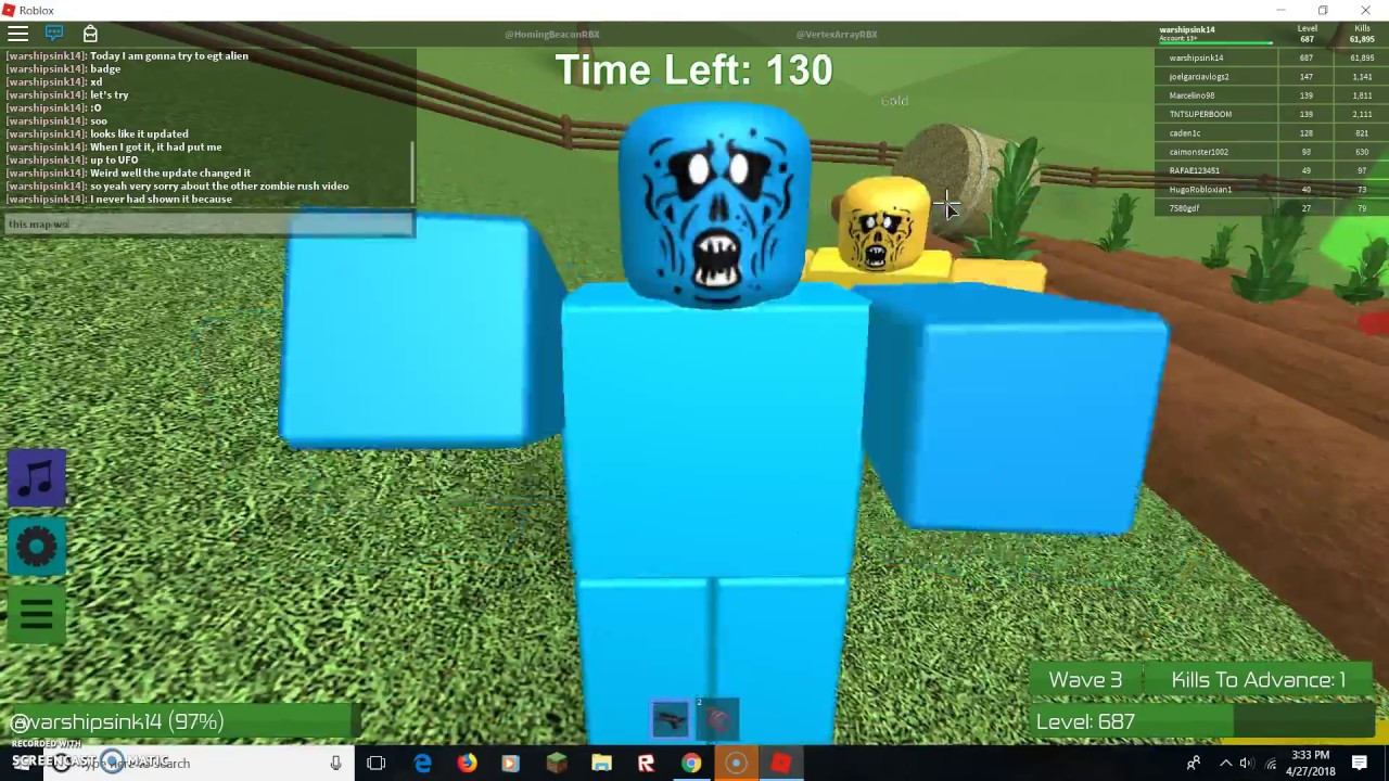 Trying To Get The Airborne Alien Badge Roblox Zombie Rush Youtube