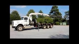 2002 Freightliner FLD120SD triple axle semi truck with Palfinger knuckle boom crane