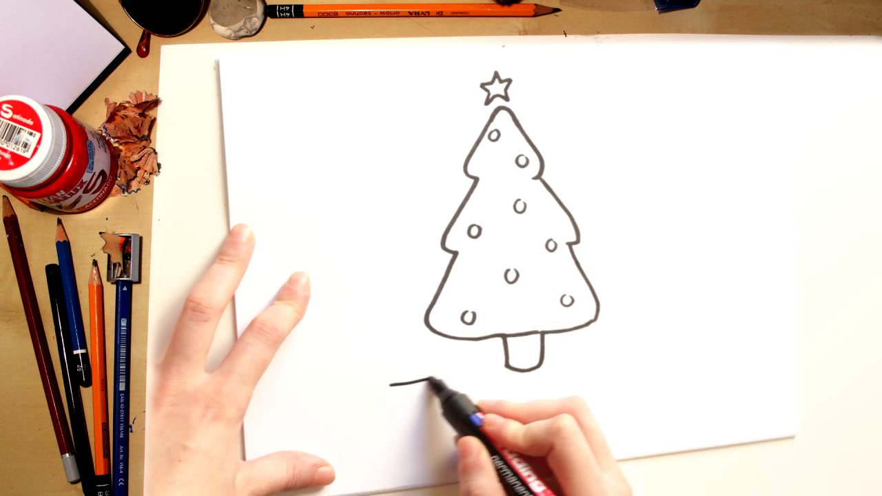 How To Draw A Christmas Tree Drawing With Kids Youtube