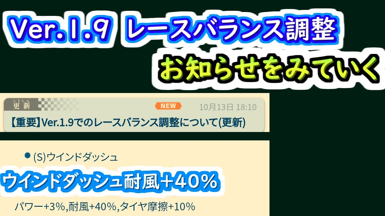 【ミニ四駆 超速GP】Ver.1.9レースバランス調整のお知らせを見ていく
