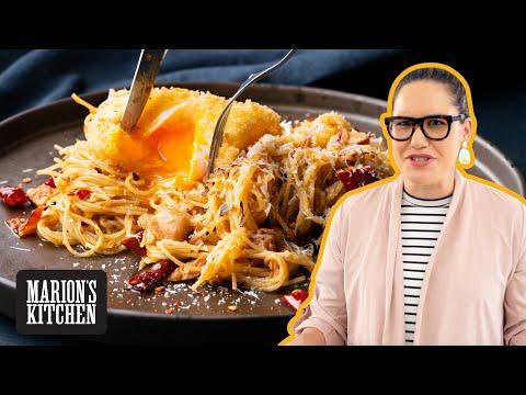Pantry pasta! 💥 Spicy tuna spaghetti w crispy deep fried egg 😆| Marion's Kitchen
