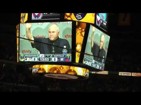 Barry Trotz tribute video inside Bridgestone Arena