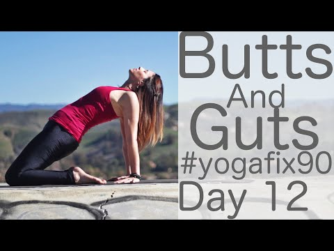 32 Minute Vinyasa Flow Focus on Butts and Guts ;-) Day 12 Yoga Fix 90 with Fightmaster Yoga