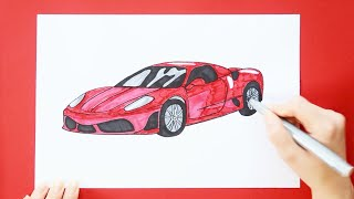 How to draw and color a Ferrari car