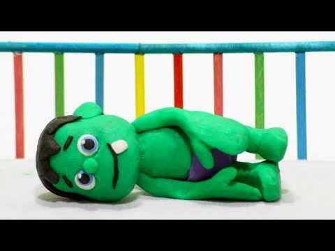 Baby Superhero sleeping 💕 Play Doh Stop motion cartoons for kids