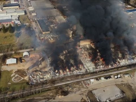 Raw: Firefighters Battle Ky. Stockyard Fire