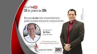 Transmissão ao vivo sobre empreendedorismo e gestão empresarial