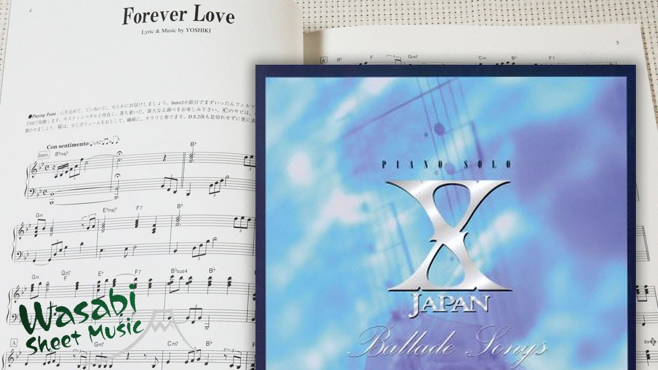 X JAPAN Ballad Songs For Piano Solo Sheet Music Book