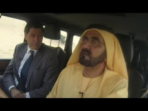 Sheikh Mohammed driving around Dubai with BBC News