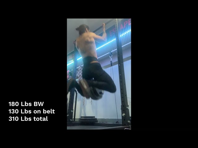 Easy 310 Lb Weighted Chin Up at 180 Lbs Bodyweight (130 Lbs on Belt)