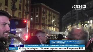 Napoli-fiorentina, l'arrivo del napoli al san paolo tra l'entusiasmo dei tifosi