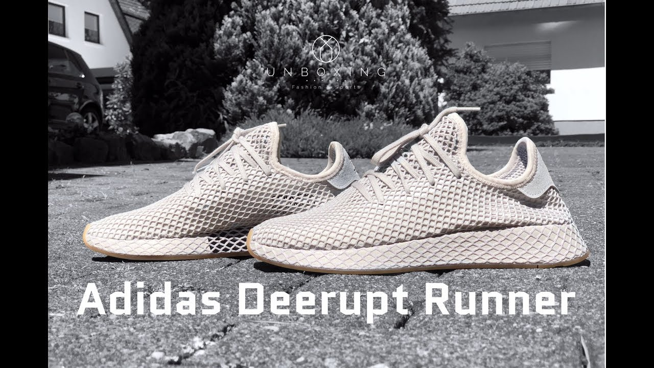 new style ac702 976cd Adidas Deerupt Runner light greygum  UNBOXING  ON FEET  fashion shoes   2018  4K