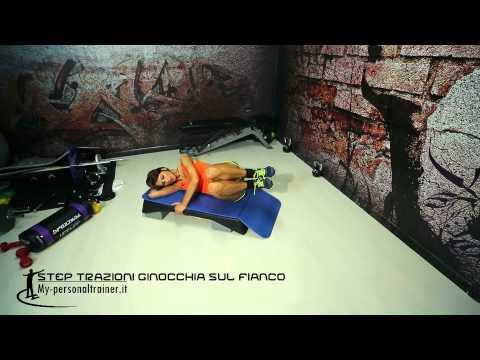 Crunch - Flessioni delle coscie sul fianco sullo step - Terry Fitness
