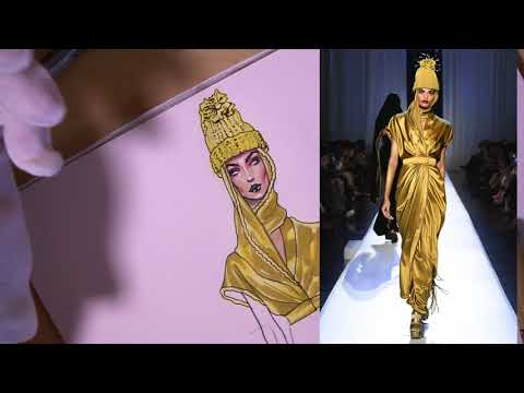 YELLOW SILK/SATIN. Jean Paul Gaultier Couture F'17 | Fashion Sketching