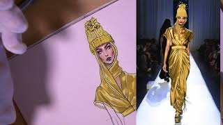 YELLOW SILK/SATIN. Jean Paul Gaultier Couture F