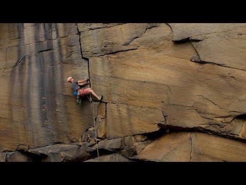 Blind climber Jesse Dufton climbs Forked Lightning Crack