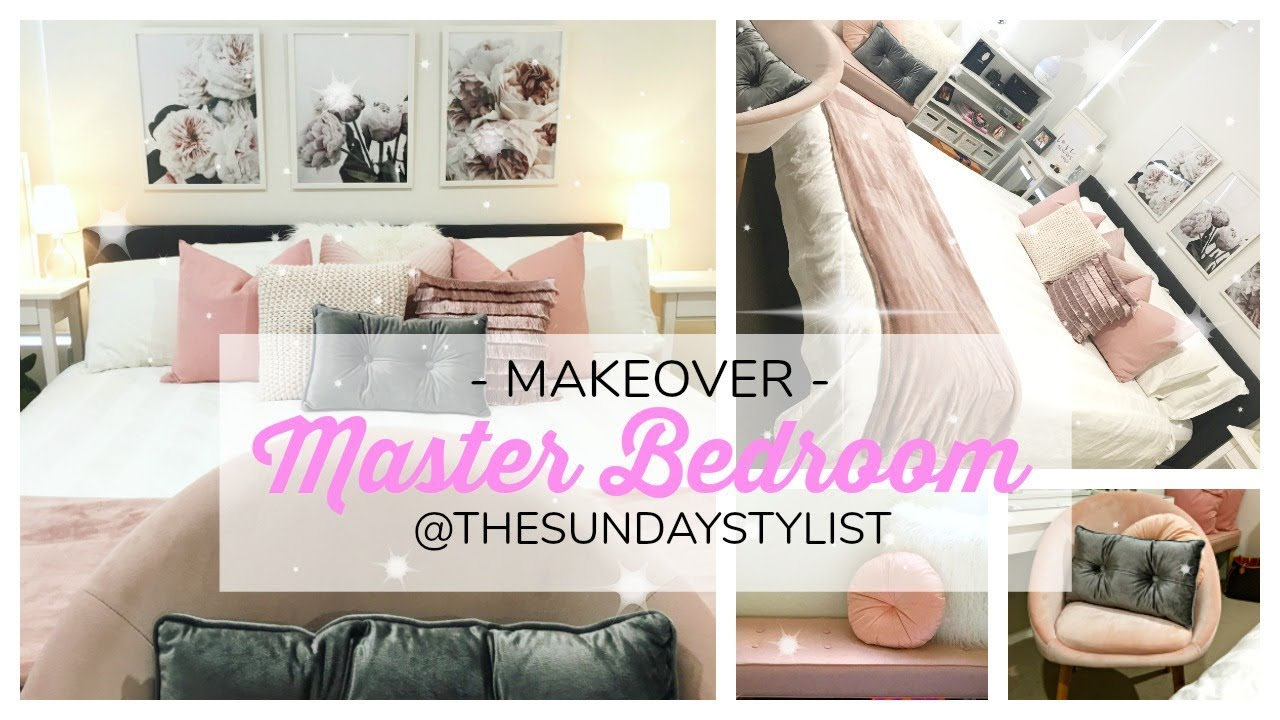 BEDROOM MAKEOVER - Blush Pink & Grey || THE SUNDAY STYLST - YouTube