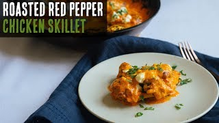 Keto Chicken Thighs with Roasted Red Pepper Cream Sauce
