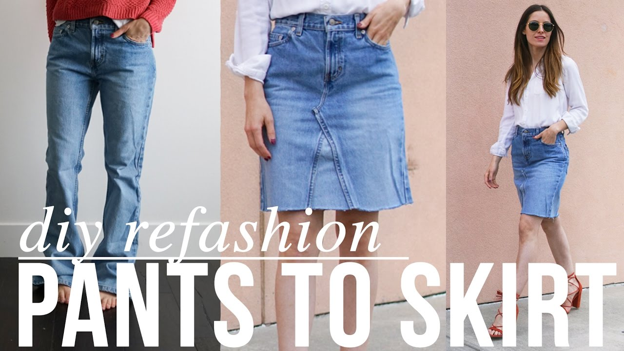 super easy DIY Jean pants to JEAN SKIRT refashion - YouTube