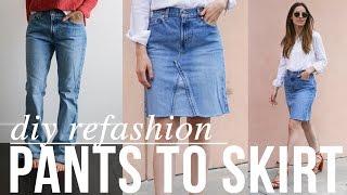 Video super easy DIY Jean pants to JEAN SKIRT refashion download MP3, 3GP, MP4, WEBM, AVI, FLV Agustus 2018