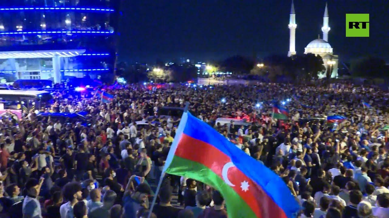 Manifestación no autorizada en apoyo del Ejército nacional en Azerbaiyán