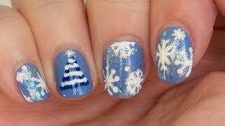 Diseño de uñas de Navidad en azul (árbol fácil) / Christmas nail designs in blue (easy tree)