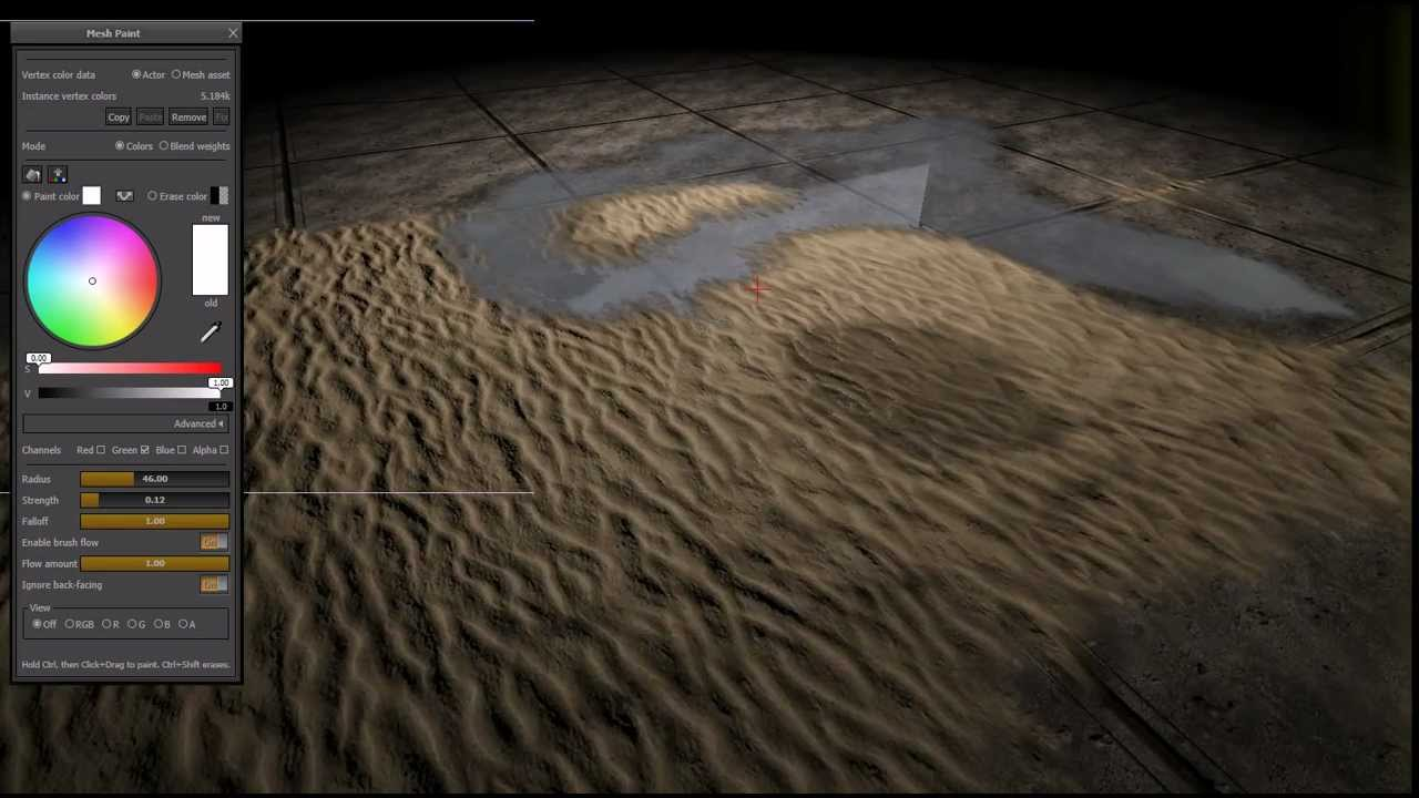 UDK Vertex painting- Water, Sand, And Concrete tile