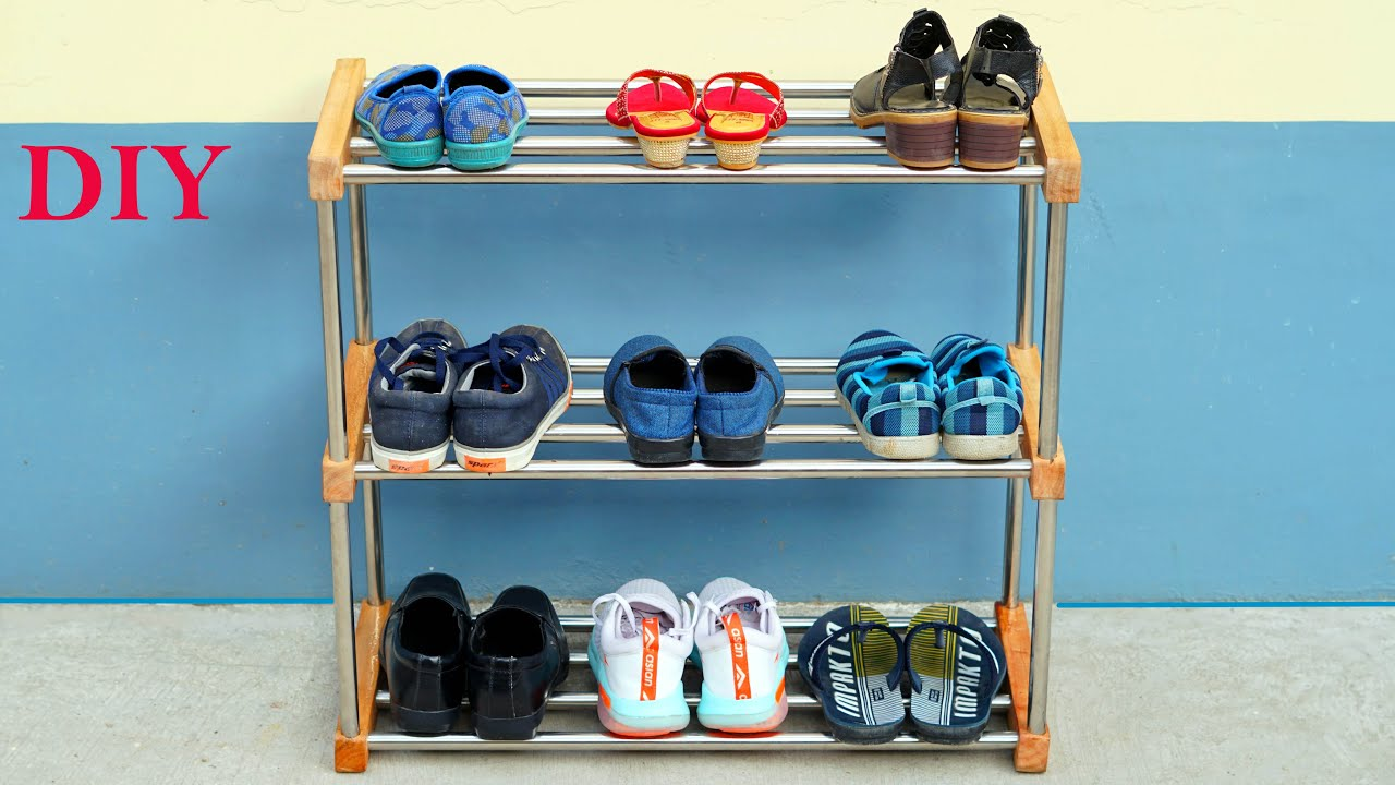 DIY Shoe Stand // Make Shoe Rack from Steel Pipe