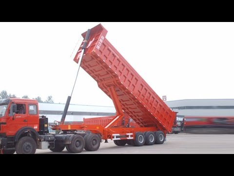 Durable 2/3 axles rear dump self unloading hydraulic end tipper trailer